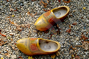 Wooden Shoes In The Gravel Stock Photo - Image: 1468750