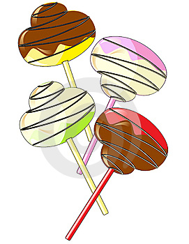 Candy On A Stick With Chocolate And Vanilla Glazin Royalty Free Stock Photo - Image: 14601315
