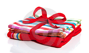 A Red Towel And A Kitchen Cloth Stock Photos - Image: 14605123