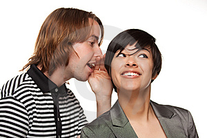 Attractive Diverse Couple Whispering Secrets Stock Photo - Image: 14606660