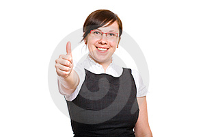 Happy Young Businesswoman, Thumb Up, Isolated Royalty Free Stock Photos - Image: 14606758