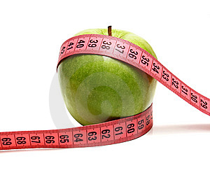 Green Apple And Measuring Ribbon For Diet Royalty Free Stock Photos - Image: 14609368