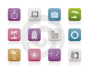 Travel, Holiday And Trip Icons Stock Photo - Image: 14609500