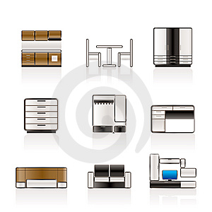 Furniture And Furnishing Icons Royalty Free Stock Image - Image: 14609516