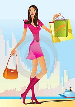 Fashion Shopping Girls With Shopping Bag Stock Photo - Image: 14609540