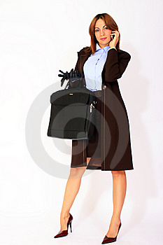 Modern Business Woman With Briefcase Stock Image - Image: 14609941