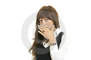 Shocked Young Female Covering Mouth Royalty Free Stock Images - Image: 14618099