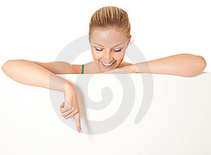 Woman Peeping From Behind White Board Stock Images - Image: 14624664