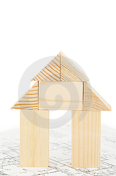 Model Of The Wooden House On The Project Royalty Free Stock Image - Image: 14625336