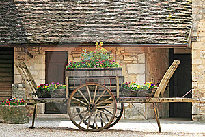 Old Wheel Cart With Flowers On Top Stock Image - Image: 14625351
