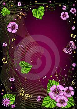 Decorative Dark Violet  Floral Frame Stock Images - Image: 14627544
