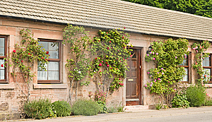 Cottage With Roses Round The Door. Stock Images - Image: 14631544