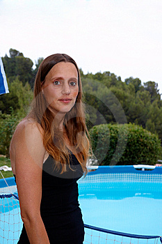 Woman Near The Pool Royalty Free Stock Image - Image: 14632766