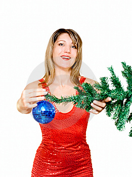 Woman With Holiday Decoration Stock Photos - Image: 14633073