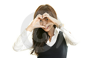 Heart Shaped By The Hands Of A Beautiful Young Wom Stock Photography - Image: 14634002