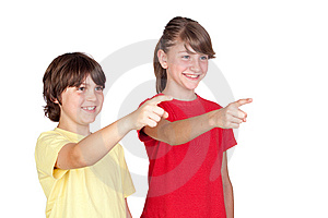 Adorable Preteen Girl And Little Boy Finger Pointi Royalty Free Stock Images - Image: 14634099
