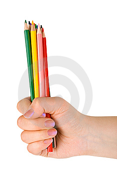 Hand With Multicolored Pencils Stock Photos - Image: 14634913