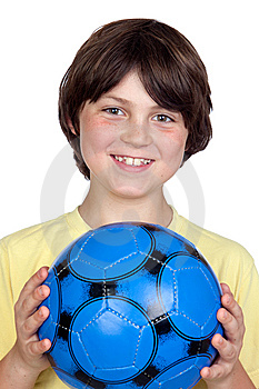 Adorable Child With A Blue Soccer Ball Stock Image - Image: 14635131