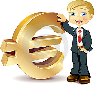 Businessman With A Euro Symbol Royalty Free Stock Image - Image: 14635336