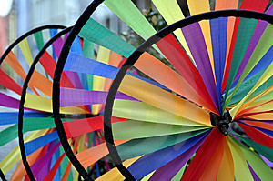 Wheels_of_rainbow_colored_fabric Royalty Free Stock Image - Image: 14635976