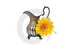 Ancient Brass Ewer With Flower  On White Stock Photos - Image: 14646973