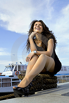 Happy Girl On Landing Stage Royalty Free Stock Photo - Image: 14648815