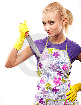 Housewife And Knife Stock Images - Image: 14649844