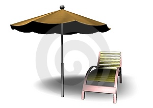 Beach Parasol And Deckchair Stock Photo - Image: 14651190
