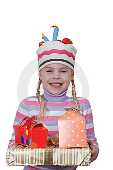 Girl In Cap-cake With Gift Boxes Royalty Free Stock Photos - Image: 14651718
