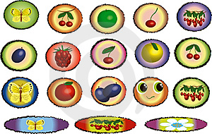 Icons With Fruits Royalty Free Stock Photo - Image: 14652295