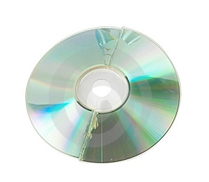 Cracked CD Isolated Stock Photos - Image: 14655263