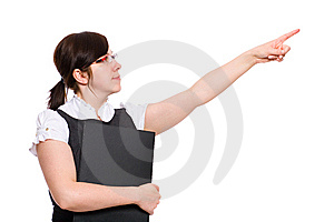 Female Office Worker Point Up With Her Finger Royalty Free Stock Image - Image: 14658516
