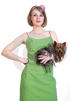 Beauty Young Woman In Green Dress With Dog Stock Photos - Image: 14658603