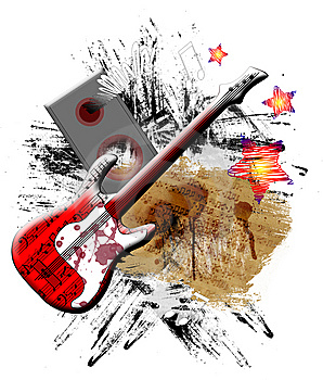 Red Guitar Royalty Free Stock Image - Image: 14660836