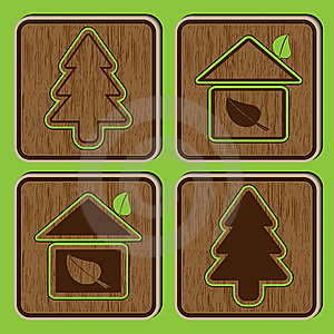 Wooden Buttons With Ecological Icons Of A Tree An Stock Image - Image: 14661371