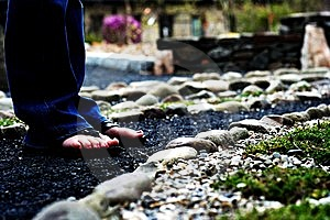 Feet On A Stone Path Royalty Free Stock Image - Image: 14663126