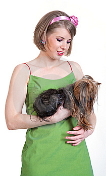 Beauty Young Woman In Green Dress With Dog Royalty Free Stock Photos - Image: 14667108