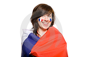 Female Wrapped In French Flag, Isolated On White Stock Photos - Image: 14669943