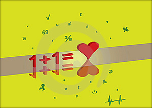 One Plus One Is Equal Love Royalty Free Stock Images - Image: 14670779