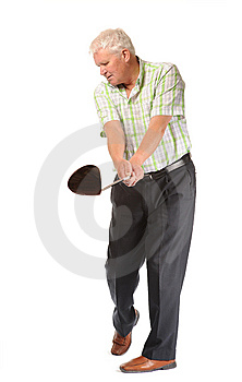 Happy Casual Mature Golfer Swinging A Club Stock Photo - Image: 14672050