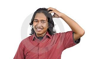 Long Hair Man Scratch His Head Stock Photos - Image: 14673823