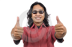 Long Hair Man With Sunglasses Give Thumb Royalty Free Stock Photography - Image: 14673867