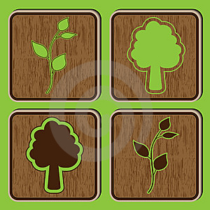 Wooden Buttons With Ecological Icons Of Leaves And Stock Photo - Image: 14675530