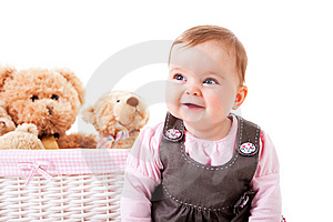Toddler Sitting Next To Teddy Bears Royalty Free Stock Images - Image: 14678589