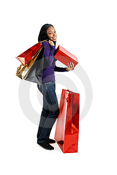 African American Woman With Shopping Bags Stock Image - Image: 14682461