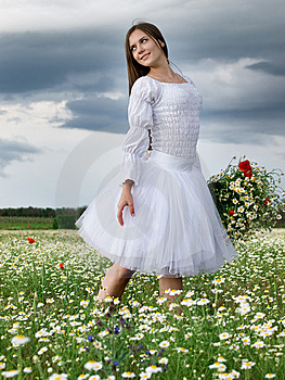 Girl In Daisy Field Stock Photography - Image: 14683662