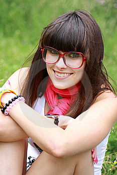 Brunette In Rose Spectacles Stock Photography - Image: 14697182
