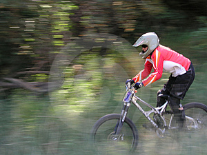 Mountain bike motion panning Stock Photo