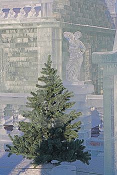 Fir-tree And Ice Sculpture Royalty Free Stock Photography - Image: 1478907