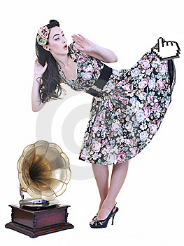Mouse Cursor Hold Dress Of Young Woman Royalty Free Stock Image - Image: 14703166